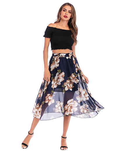 cheap Pants & Skirts-Women's Basic / Street chic A Line Skirts - Floral Chiffon Blue M L XL / Loose