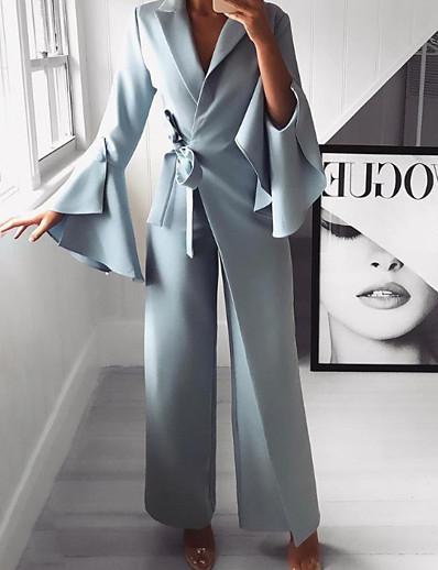 cheap CLOTHING-Women's Basic Light Blue Wide Leg Jumpsuit, Solid Colored M L XL