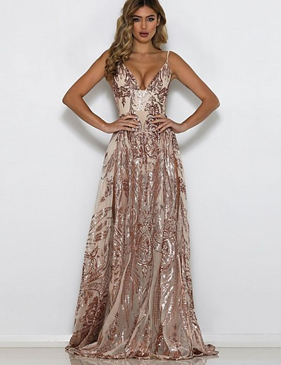 cheap Party Dresses-Women's Maxi Gold Dress Cocktail Party Sheath Floral Deep V Sequins S M Slim
