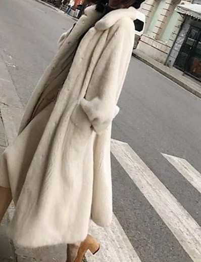 cheap OUTERWEAR-Women's Faux Fur Coat Long Solid Colored Daily White Black M L XL XXL