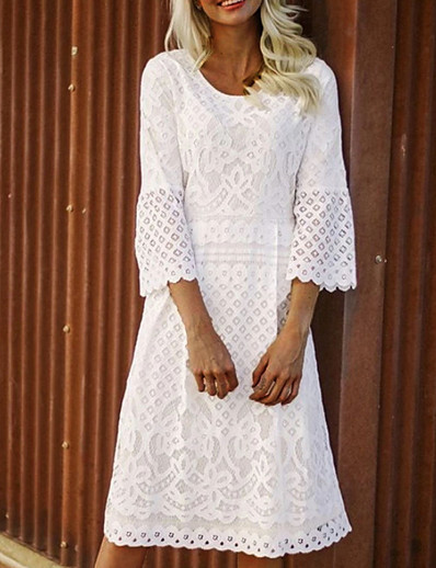 cheap Elegant Dresses-Women's Plus Size A Line Dress - 3/4 Length Sleeve Solid Colored White S M L XL