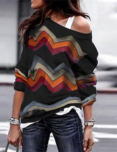 cheap Sweaters & Cardigans-Women's Striped Long Sleeve Loose Pullover Sweater Jumper, Round Neck Fall / Winter Wine / Black / Purple S / M / L