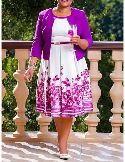 cheap Plus Size Dresses-Women's Purple Dress Elegant Street chic A Line Floral Geometric Rose Pleated Print XL XXL / Belt Not Included
