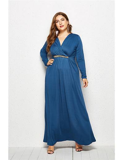 cheap Plus Size Dresses-Women's Maxi Purple Blue Dress Elegant Swing Solid Colored V Neck Deep V M L Loose