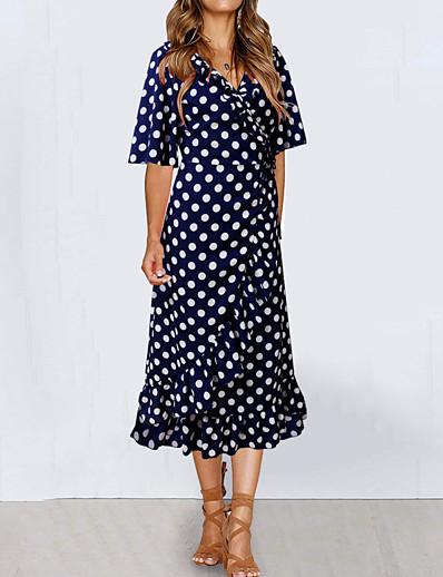 cheap Elegant Dresses-Women's Basic Boho Sheath Swing Dress - Polka Dot Tribal Black White Blue, Ruffle Print Drawstring Black White Blue S M L XL