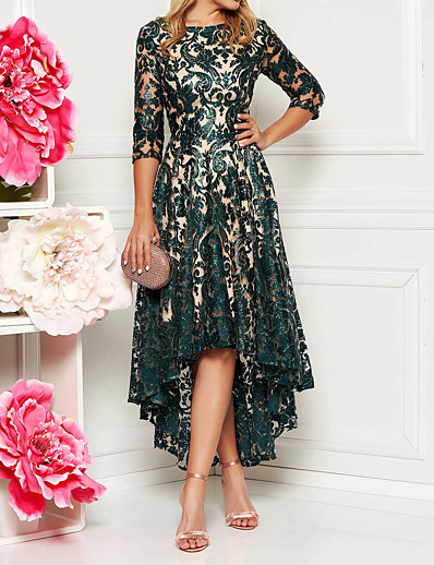 cheap Lace Dresses-Women's A Line Dress Midi Dress Green Half Sleeve Floral Solid Color Lace Spring & Summer All Seasons Round Neck Hot Elegant 2021 M L XL XXL