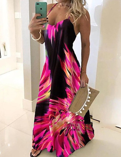cheap Maxi Dresses-Women's Plus Size Maxi Dress - Sleeveless Floral Print Summer Casual Holiday Vacation Beach Slim 2020 Blue Red Fuchsia Green Gray S M L XL XXL XXXL XXXXL XXXXXL