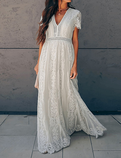 cheap Lace Dresses-Women's Swing Dress Maxi long Dress White Short Sleeve Deep V Basic Hot vacation dresses S M L XL