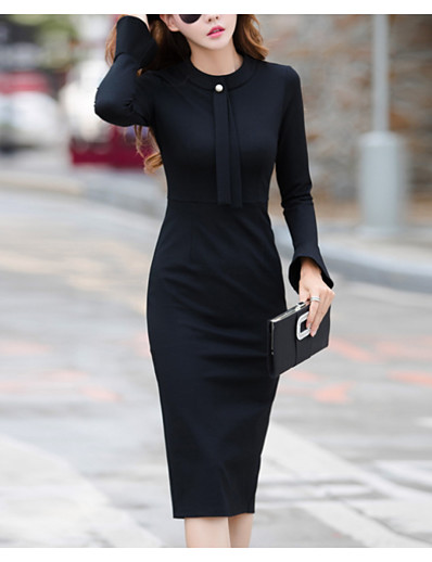 cheap Work Dresses-Women's Sheath Dress - Long Sleeve Solid Colored Elegant Black Blue S M L XL XXL