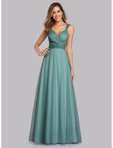 cheap Special Occasion Dresses-A-Line V Neck Floor Length Chiffon / Tulle Elegant / Pink Prom / Wedding Guest Dress with Sequin / Pleats 2020