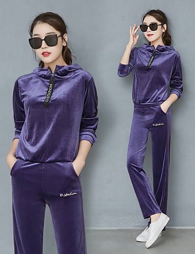 cheap Running, Jogging & Walking-Women's 2 Piece Quarter Zip Tracksuit Sweatsuit Street Casual Long Sleeve Velour Warm Breathable Soft Fitness Gym Workout Running Active Training Jogging Sportswear Solid Colored Sweatshirt Track