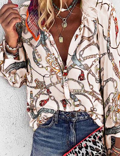 cheap TOPS-Women's Daily Plus Size Loose Shirt - Geometric V Neck Purple