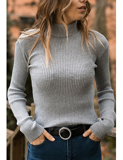 cheap Sweaters & Cardigans-Women's Solid Colored Long Sleeve Pullover Sweater Jumper, Turtleneck Black / Wine / Green S / M / L