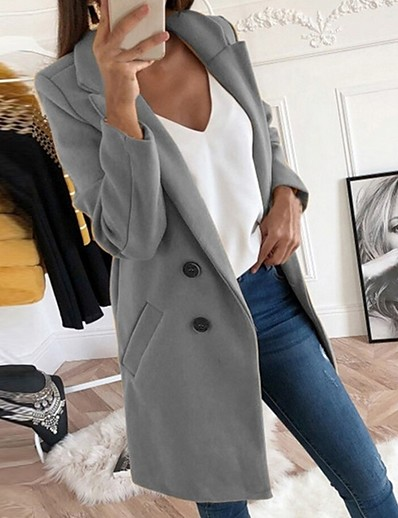 cheap Trench Coats-Women's Fall & Winter Coat Daily Regular Solid Colored Black / Blue / Red S / M / L
