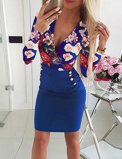 abordables Mini Robes-Femme Moulante Mini robe Courte Manches Longues Imprimé Fleurie Patchwork Bouton Imprimé chaud Chic de Rue Blanche Noir Bleu Rouge S M L XL 4XL 5XL