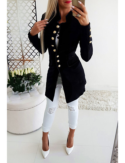 cheap Jackets-Women's Blazer, Solid Colored Stand Polyester Black / Red / Navy Blue
