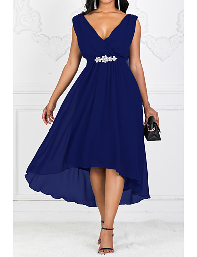 cheap High Low Dresses-Women's Maxi Plus Size Purple Red Dress Solid Color Cocktail Party A Line Solid Colored V Neck S M