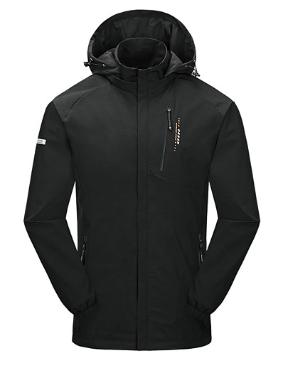 cheap Softshell, Fleece & Hiking Jackets-Men's Elastane Hoodie Jacket Hiking Jacket Hiking Windbreaker Winter Outdoor Thermal Warm Waterproof Windproof Breathable Solid Color Full Length Hidden Zipper Jacket Top Camping / Hiking Hunting Ski