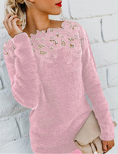 cheap Sweaters & Cardigans-Women's Solid Colored Long Sleeve Pullover Sweater Jumper, Round Neck Wine / Purple / Blushing Pink S / M / L