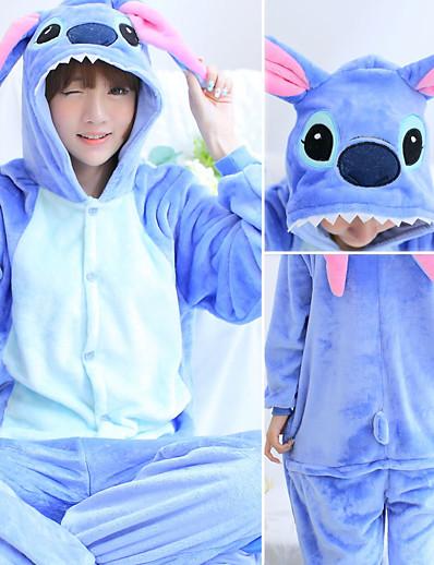 cheap Kigurumi Pajamas-Adults' Kigurumi Pajamas Cartoon Blue Monster Onesie Pajamas Polyester Microfiber Blue / Pink Cosplay For Men and Women Animal Sleepwear Cartoon Festival / Holiday Costumes / Leotard / Onesie