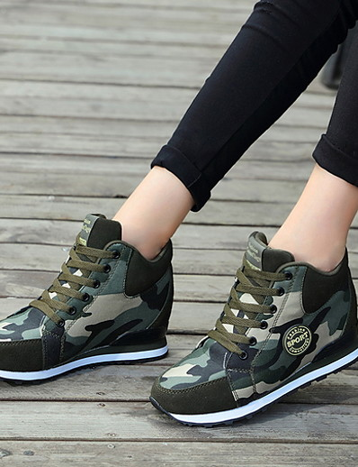cheap Sneakers-Women's Athletic Shoes Flat Heel Round Toe Canvas Running Shoes Fall & Winter Army Green / Camouflage