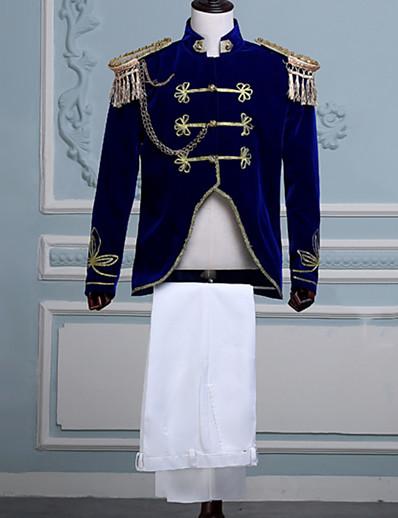 cheap Historical & Vintage Costumes-Prince Aristocrat Retro Vintage Medieval Coat Pants Outfits Masquerade Men's Costume Blue Vintage Cosplay Long Sleeve Party Pantsuit / Jumpsuit