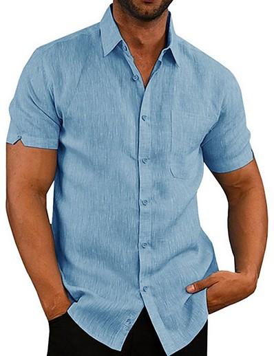 cheap MEN-Men's Daily Shirt - Solid Colored Black