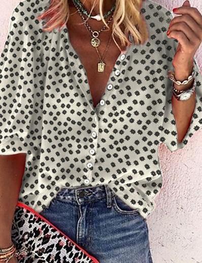 cheap Blouses & Shirts-Women's Blouse Shirt Polka Dot Long Sleeve Shirt Collar Tops Basic Top White Black Yellow