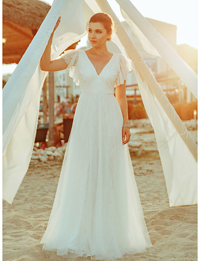 cheap WEDDING-A-Line V Neck Floor Length Lace Short Sleeve Simple / Casual / Boho Illusion Detail / Backless Wedding Dresses with Lace 2020