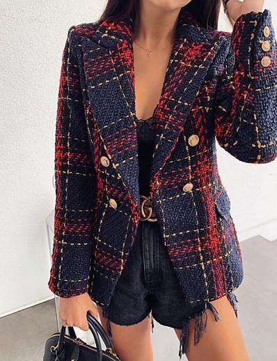 cheap Jackets & Blazers-Women's Blazer, Plaid Notch Lapel Polyester Red