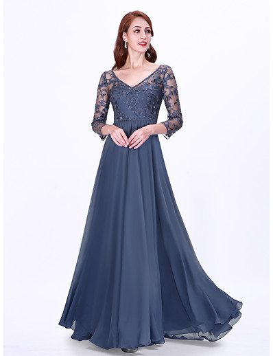 cheap Party Dresses-A-Line V Neck Floor Length Chiffon / Lace Elegant / Vintage Inspired Formal Evening Dress 2020 with Lace Insert