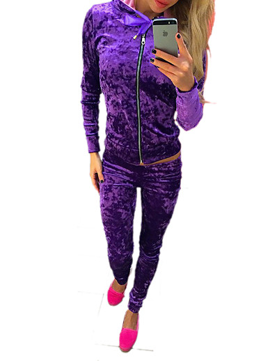 cheap Running, Jogging & Walking-Women's Tracksuit Streetwear Casual Winter Long Sleeve Velour Warm Breathable Soft Fitness Running Sportswear Solid Colored Purple Blue Pink Green Activewear Stretchy / Velvet