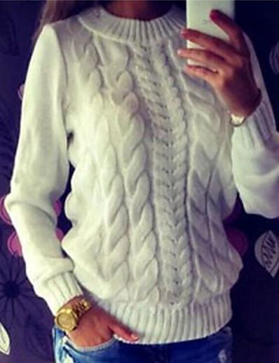 preiswerte TOPS-Damen Street Schick Gedreht Solide Pullover Langarm Standard Pullover Cardigans Rundhalsausschnitt Weiß Dunkelgray Grau