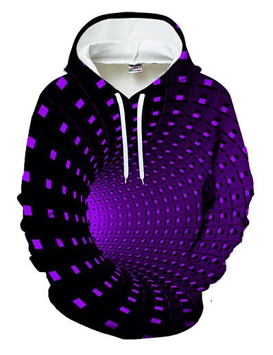 cheap Men's Outerwear-Men's Casual / Basic Hoodie - Geometric / Color Block / 3D Black US32 / UK32 / EU40