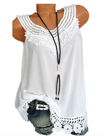 cheap Tank Tops-Women's Daily Basic Plus Size Loose Tank Top - Geometric / Solid Colored Lace Wine / Summer