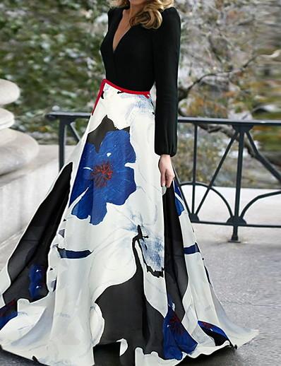 cheap Party Dresses-Women's Elegant Swing Dress - Floral Black S M L XL