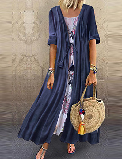 cheap SALE-Women's Plus Size Maxi Swing Dress - Half Sleeve Geometric Loose Blue Yellow Blushing Pink Green M L XL XXL XXXL XXXXL XXXXXL