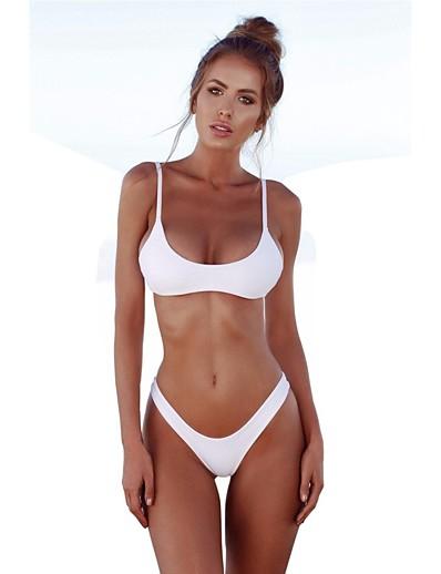 cheap SWIMWEAR-Women's Basic Black Wine White Triangle Cheeky High Waist Bikini Swimwear - Solid Colored Backless S M L Black