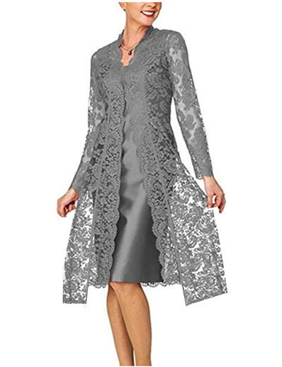 cheap Lace Dresses-Women's Lace Knee Length Dress Black Blue Red Gray Long Sleeve Solid Colored Lace Clothing Fall Spring V Neck Hot For Mother / Mom 2021 S M L XL XXL 3XL 4XL 5XL / Plus Size