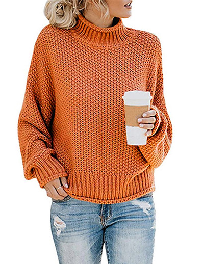 cheap OUTERWEAR-Women's Solid Colored Long Sleeve Pullover Sweater Jumper, Turtleneck Fall / Winter Cotton Black / Wine / Orange S / M / L
