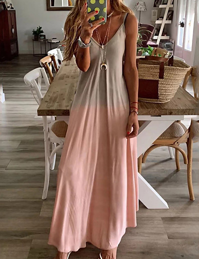 cheap Vacation Dresses-Women's Plus Size Maxi Swing Dress - Sleeveless Color Block Spring & Summer Strap Deep V Slim 2020 Yellow Blushing Pink Gray Light Blue S M L XL XXL XXXL XXXXL XXXXXL