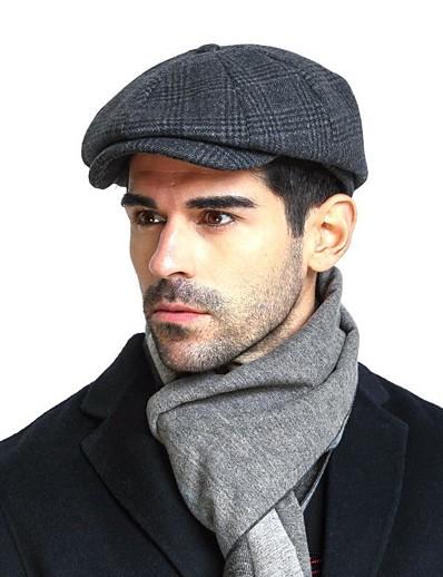 cheap Men's Accessories-Men's Basic Cashmere Cotton Acrylic Beret Hat Floppy Hat-Color Block Fall Winter Navy Blue