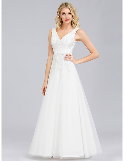 cheap Special Occasion Dresses-A-Line V Neck Floor Length Lace / Tulle Elegant Formal Evening Dress 2020 with