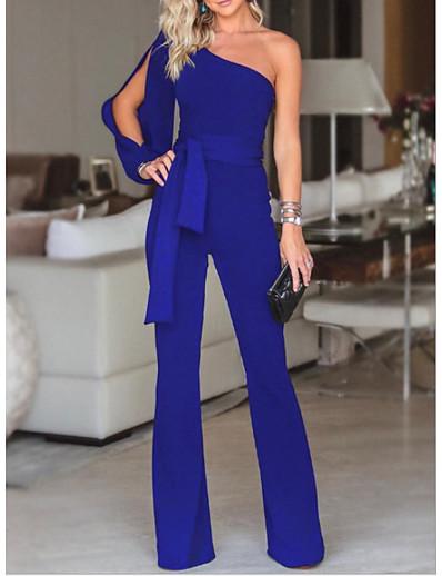 abordables COMBINAISONS-Combinaison-pantalon Femme Couleur Pleine Blanche Noir Bleu Violet Rouge Rose Claire Vert S M L XL / Ample