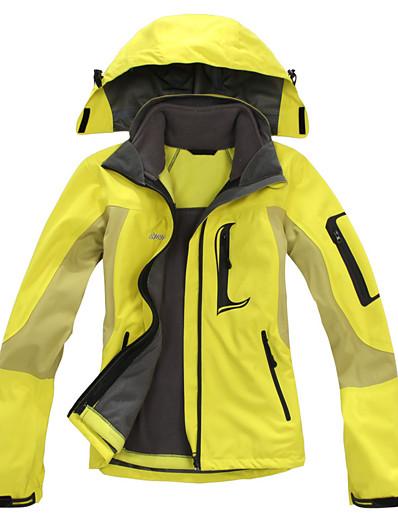 cheap Softshell, Fleece & Hiking Jackets-Women's Hiking Jacket Winter Outdoor Waterproof Windproof Warm Comfortable Patchwork Top Fishing Climbing Running Yellow Red Fuchsia Blue