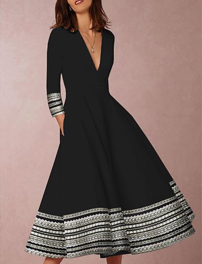 cheap Daily Dresses-Women's Daily Wear Elegant Swing Dress - Geometric Print Black S M L XL