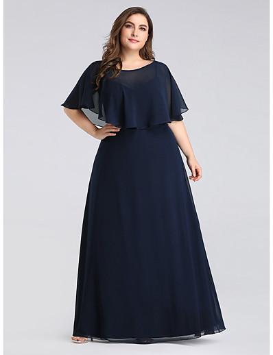 cheap WEDDING-A-Line Jewel Neck Floor Length Chiffon Half Sleeve Plus Size Mother of the Bride Dress with Ruffles 2020 / Petal Sleeve