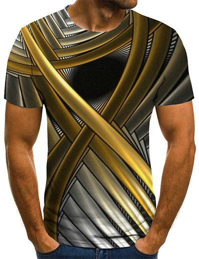 cheap Men's 3D-Men's T shirt Graphic Abstract Plus Size Pleated Print Short Sleeve Weekend Tops Streetwear Gold