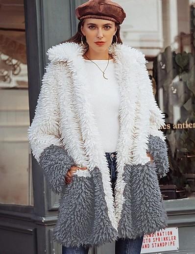 cheap OUTERWEAR-Women's Daily Fall & Winter Regular Faux Fur Coat, Color Block Turndown Long Sleeve Faux Fur White / Gray