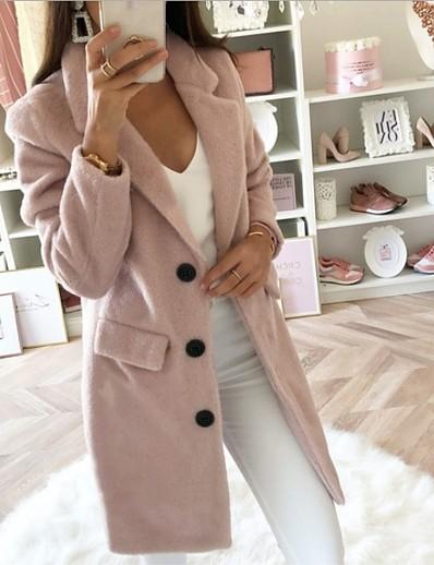 abordables Manteaux & Trenchs Femme-Femme Automne hiver Revers Cranté Manteau Normal Géométrique Quotidien Noir Bleu Rouge Rose Claire S M L XL